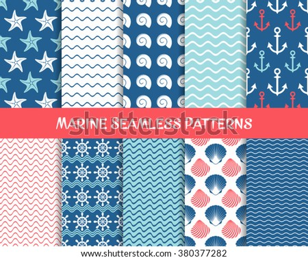 Vector sea and marine seamless patterns colorful collection - stock vector