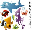 vector sea animals - stock vector