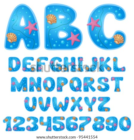 Vector sea font with digits