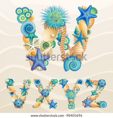 Vector sea life font on sand background. Check my portfolio for other letters, and numbers. - stock vector