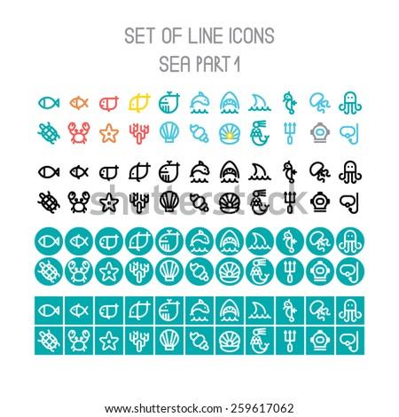 Vector sea line icons part 1 - stock vector