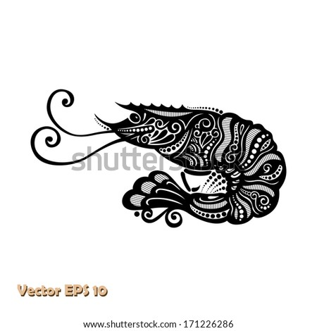 Vector Sea Shrimp. Patterned design - stock vector