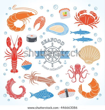 Vector seafood and sushi colorful icons collection for groceries, stores, sushi bars and advertising.