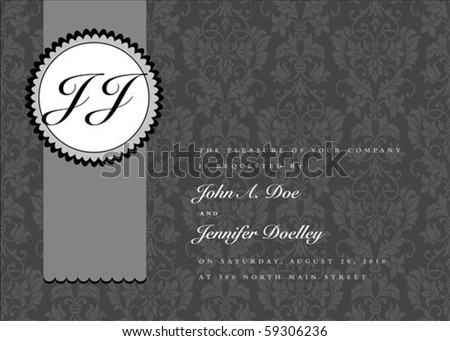 Vector seal frame and ornate pattern. Perfect as invitation or announcement. Pattern is included as seamless swatch. All pieces are separate. Easy to change colors and edit. - stock vector