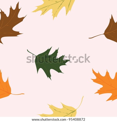 Vector seamless abstract background with autumn leaves - stock vector