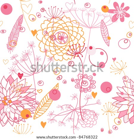Vector, seamless abstract background with flowers and plants. Endless floral pattern. Seamless pattern can be used for wallpaper, pattern fills, web page background, surface textures. - stock vector