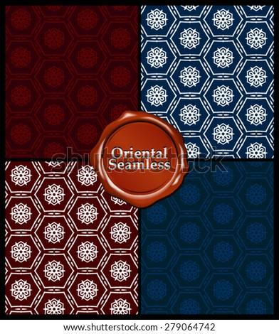 Vector Seamless Abstract Oriental Pattern Set - stock vector