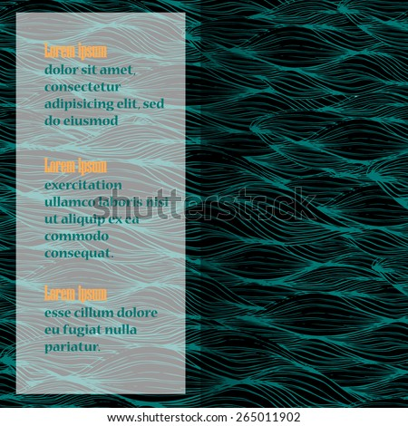 Vector seamless abstract pattern, waves in sketch style. Original hand drawn - stock vector