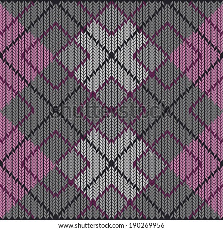 Vector Seamless Argyle Sweater Background, Realistic and Detailed. - stock vector