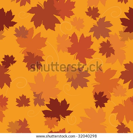 vector seamless autumn maple leaf background - stock vector