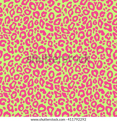 Vector seamless background. Animal leopard neon pink green pattern print - stock vector