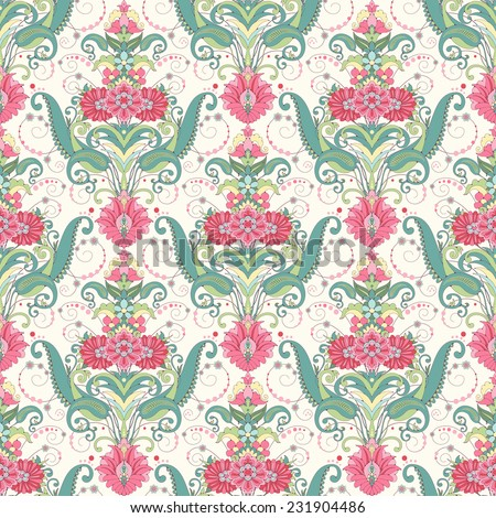 Vector seamless background. Beautiful oriental floral pattern. Delicate green and pink. - stock vector