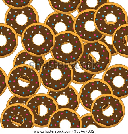 Vector seamless background. Chaotic delicious donuts - stock vector