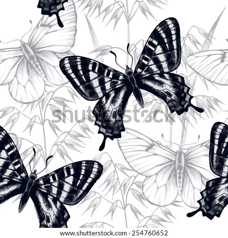 Vector seamless background. Design for fabrics, textiles, paper, wallpaper, web. Cereals, butterfly. Retro. Vintage style. - stock vector