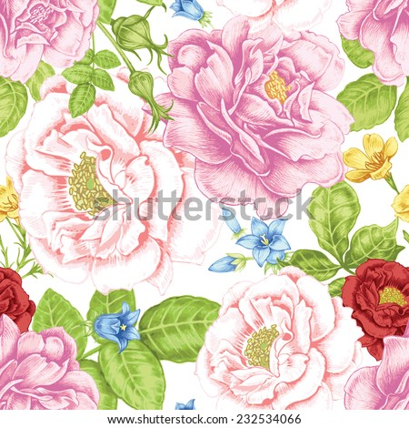Vector seamless background. Design for fabrics, textiles, paper, wallpaper, web. Roses, peonies, anemones, bluebells. Retro. Vintage style.