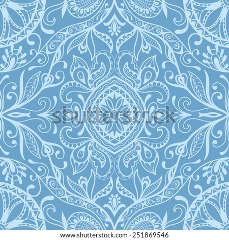 Vector seamless background, detailed lace pattern, tribal ethnic ornament, fabric texture, hand drawn fashion artwork - stock vector