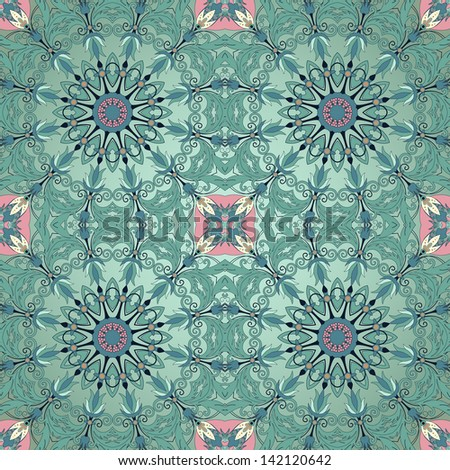 Vector seamless background. Floral round pattern. Beautiful fantasy flowers with leaves and berries.