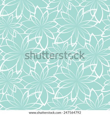 Vector seamless background. Flowers on a light blue background - stock vector