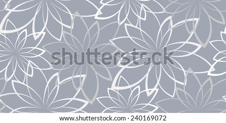 Vector seamless background. Flowers on a light blue background. Vintage - stock vector