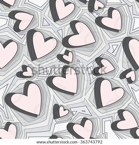 Vector seamless background. Graphically pattern elements in a form of hearts. Texture for Valentine's Day, printing, wrapping paper, background for wedding invitations, textiles, fabrics, home decor. - stock vector