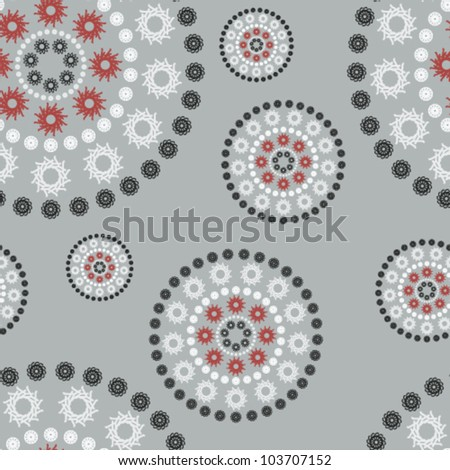 Vector seamless background illustration with retro circles (blue version). Can be tiled horizontally and vertically. - stock vector