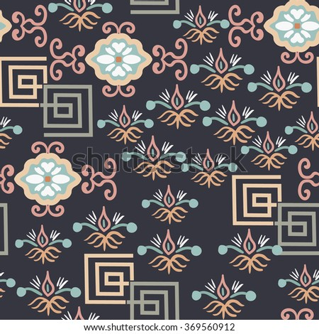 Vector seamless background in Oriental style. - stock vector