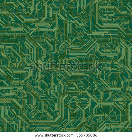 Vector seamless background of electrical circuit of computer board device (motherboards). - stock vector