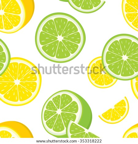 Vector seamless background of lemon and lime slices. - stock vector
