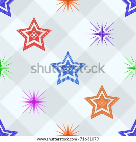 Vector seamless background, pattern from stars of different forms on a checkered