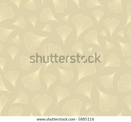 Vector seamless background pattern: ginkgo leaves, pale yellow on beige - stock vector