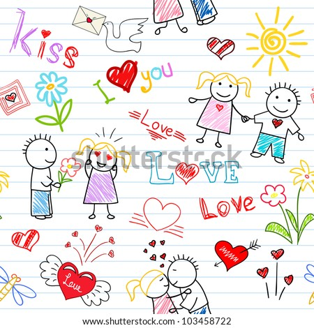 Vector seamless background - romantic couple. Sketch on notebook page