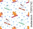 Vector seamless background, teddy bears ski on a snowboard and skis - stock photo