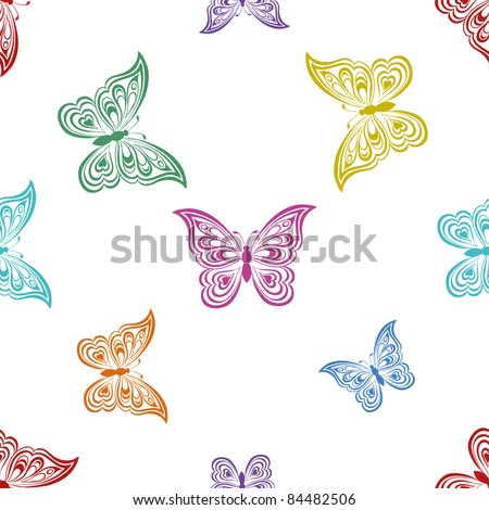 Vector seamless background, various symbolical butterflies, coloured contours on a white background - stock vector