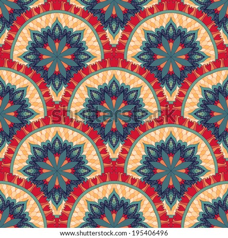 Vector seamless background with a round ornament. Beautiful floral pattern in vintage style. - stock vector