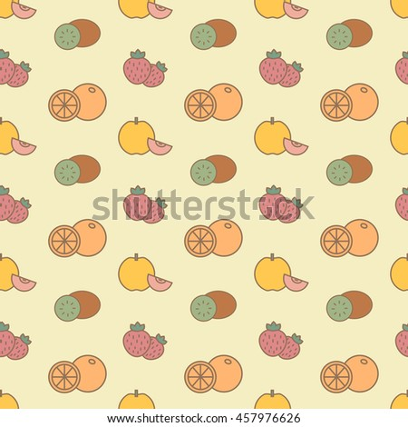 Vector seamless background with color pulpy fruits and strawberry - stock vector