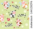 Vector seamless background with cute cows and ladybirds - stock vector