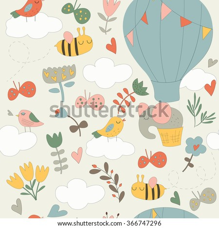 Vector seamless background with cute elephant on air balloon, bees, butterflies, clouds, flowers and hearts in cartoon style - stock vector