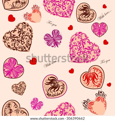Vector seamless background with decorative hearts for design - stock vector