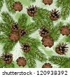 Vector seamless background with fir tree branches and cones. - stock vector