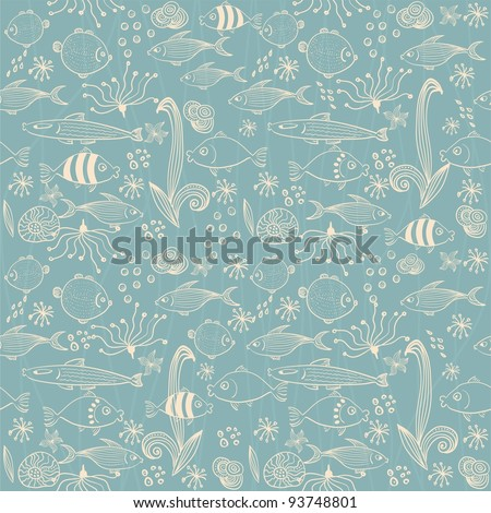 Vector seamless background with fish