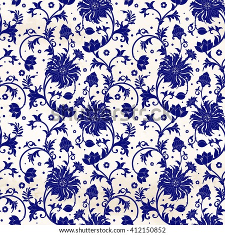 Vector seamless background with floral pattern on watercolor backdrop. Imitation of chinese porcelain painting. - stock vector