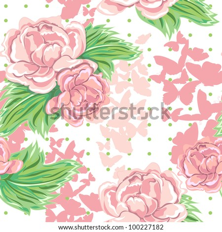 vector seamless background with flowers and butterflies