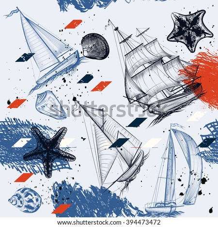 Vector seamless background with hand drawn ships star fishes shells in vintage  style - stock vector