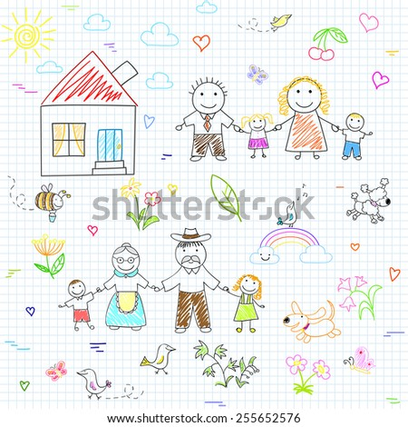Vector seamless background with happy family. Sketch on notebook page - stock vector