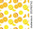 Vector seamless background with orange and lemon slices. - stock vector