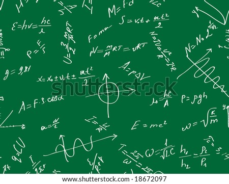 Vector seamless background with physical formulas.