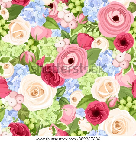 Vector seamless background with pink, blue, red and white roses, lisianthuses, ranunculus and hydrangea flowers and green leaves.