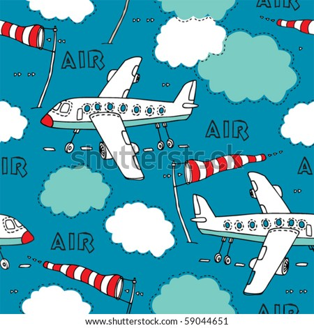 vector seamless background with plane. - stock vector