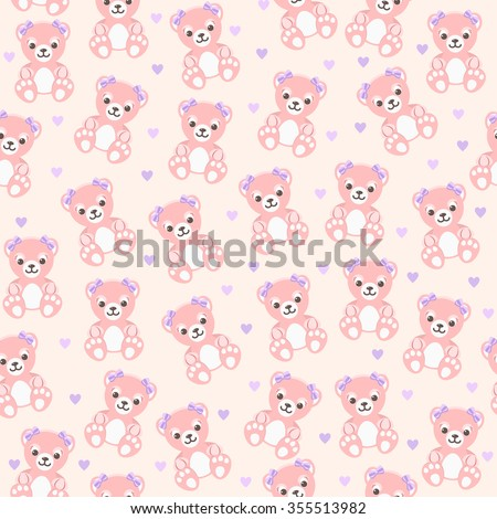 Vector seamless background with teddy bears and hearts for baby girl - stock vector