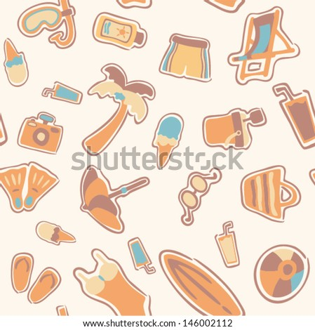vector seamless beach pattern - Separate layers for easy editing - stock vector